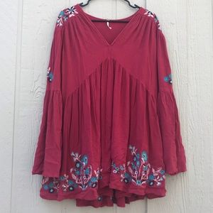 Free people | red bell sleeve blouse embroidered